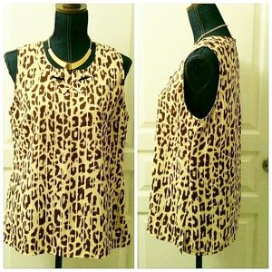 "Cabi ""Ginger"" Leopard Sleeveless Top"